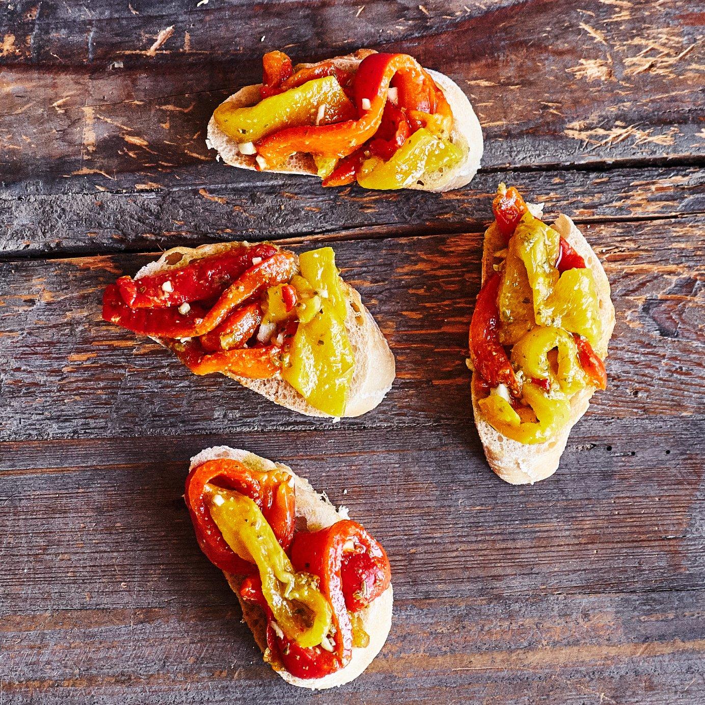 Bruschetta mit gegrillten Paprika